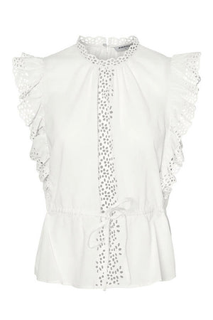 White Embroidered Sleeve Top