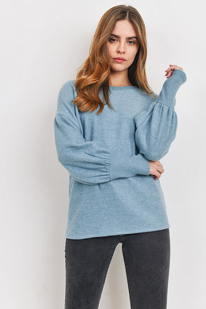 Blue Soft Brushed Knit Top
