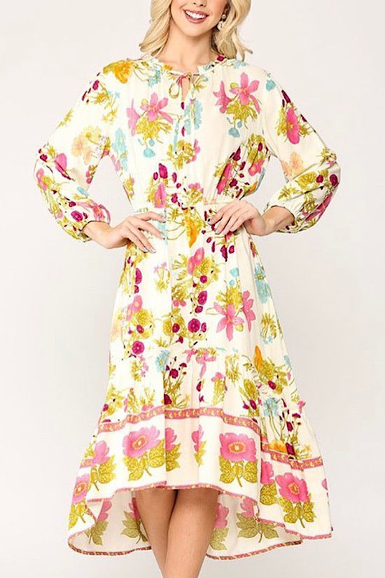 Floral Printed Midi Dress with 3/4 Sleeves