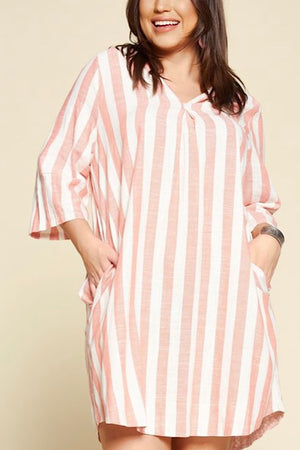 Coral and White Stripe Linen Dress