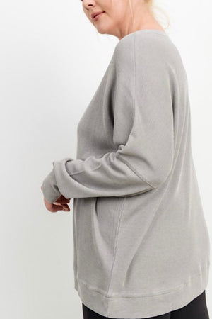 One Size Light Grey Waffle Ribbed Roundneck Pullover