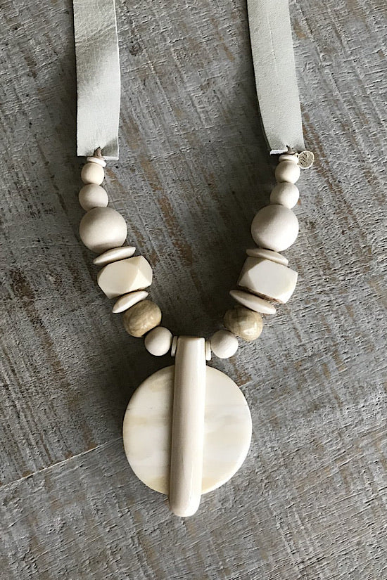 Natural Bone Pendant Necklace