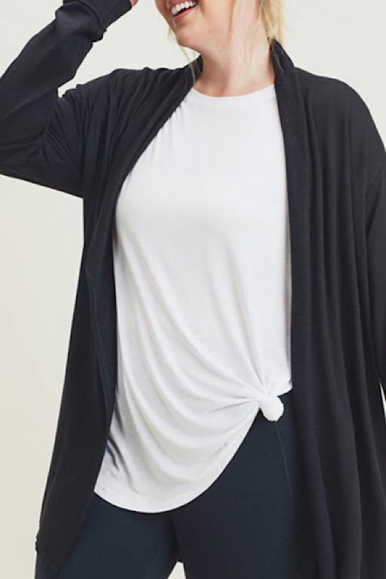 Black Extended Longline Open Front Cardigan