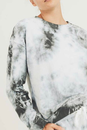 Clouds Tie Dye Extended Cotton Terry Pullover