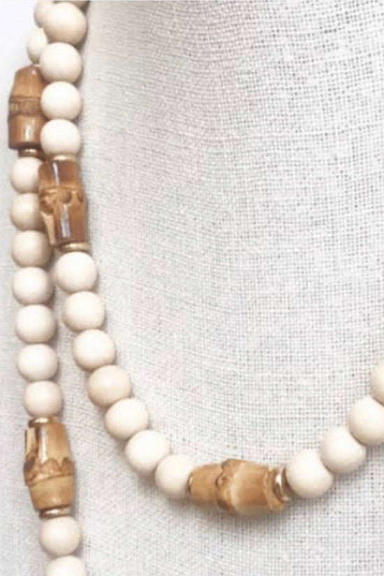 "18"" Cream Wood Bead Necklace with Bamboo Accents"