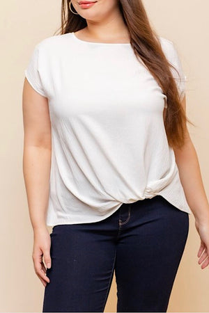 White Twist Hem Top