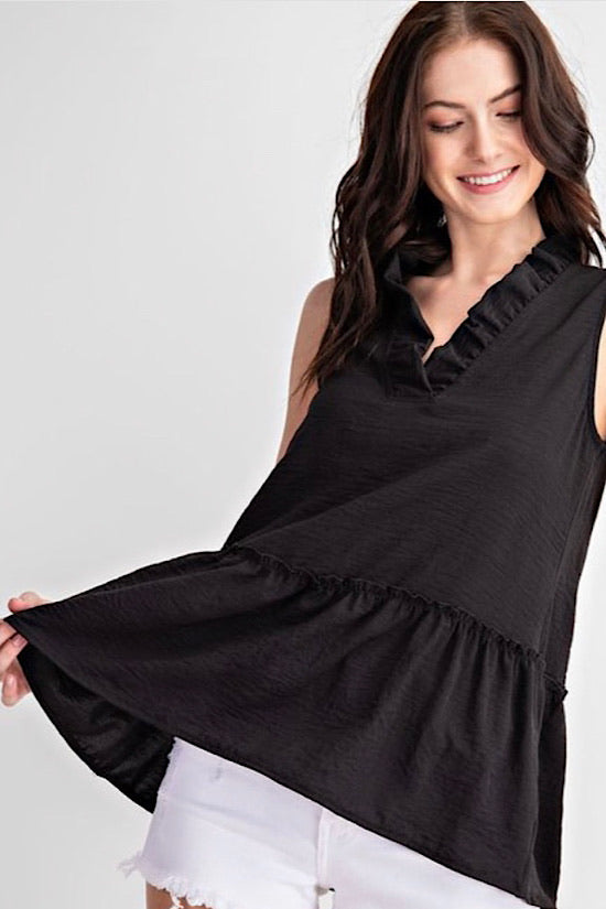 Black Sleeveless Top With Ruffle