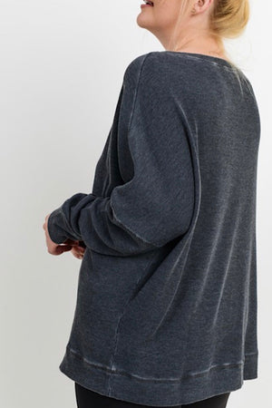 Black Extended Size Waffle Ribbed Roundneck Pullover