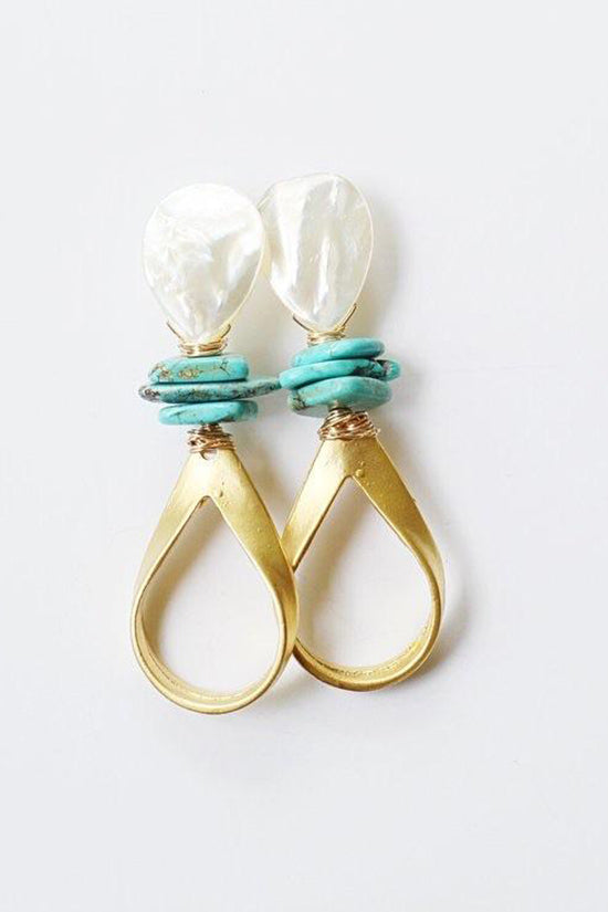 Pearl & Turquoise Stacks + Gold Loop