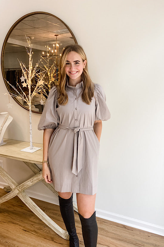 Taupe Puff Sleeve Dress