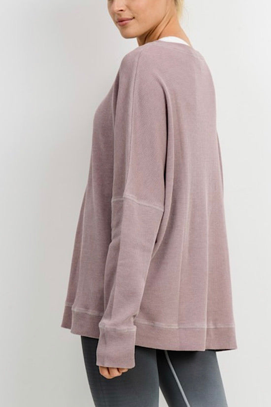 Dusty Pink Extended Size Waffle Ribbed Roundneck Pullover