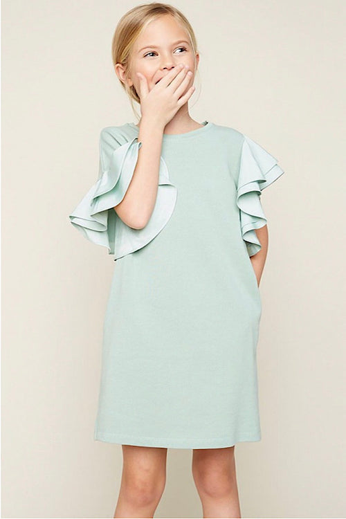 Asymmetric Shoulder Ruffled Shift Dress