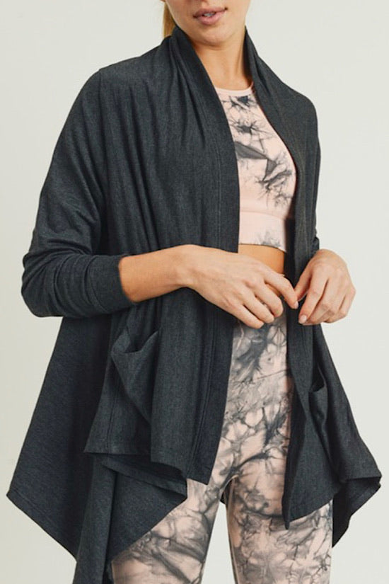 Open Front Hi-Lo Brushed Cardigan