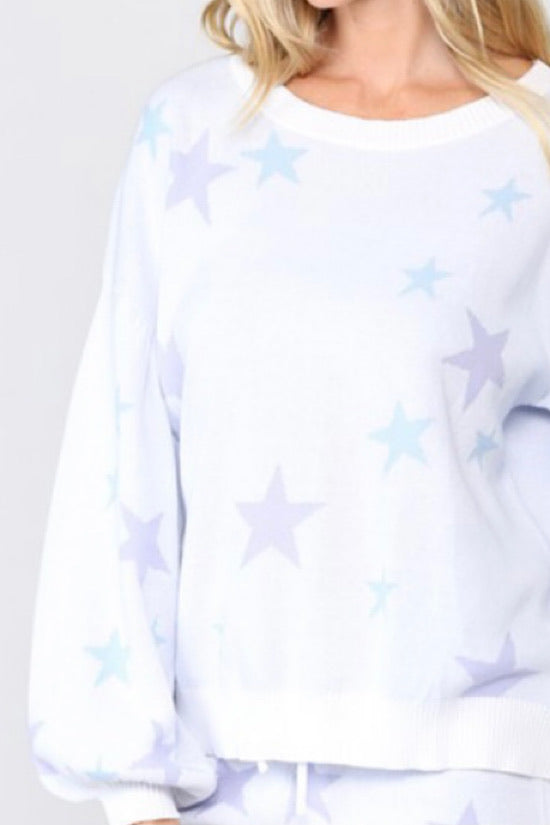Star Knit Pullover Sweater/Balloon Sleeve