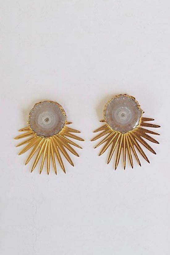 Vivian Drew White Agate Sunburst Earrings