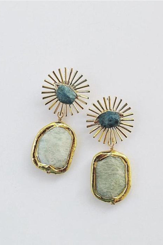Vivian Drew Sunburst + Amazonite Earrings
