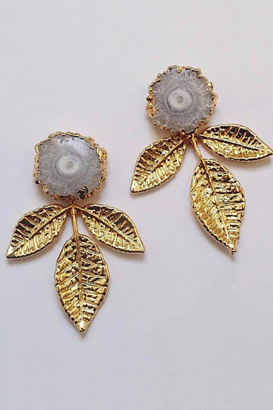 Vivian Drew White Agate and Gold Leaves Earrings