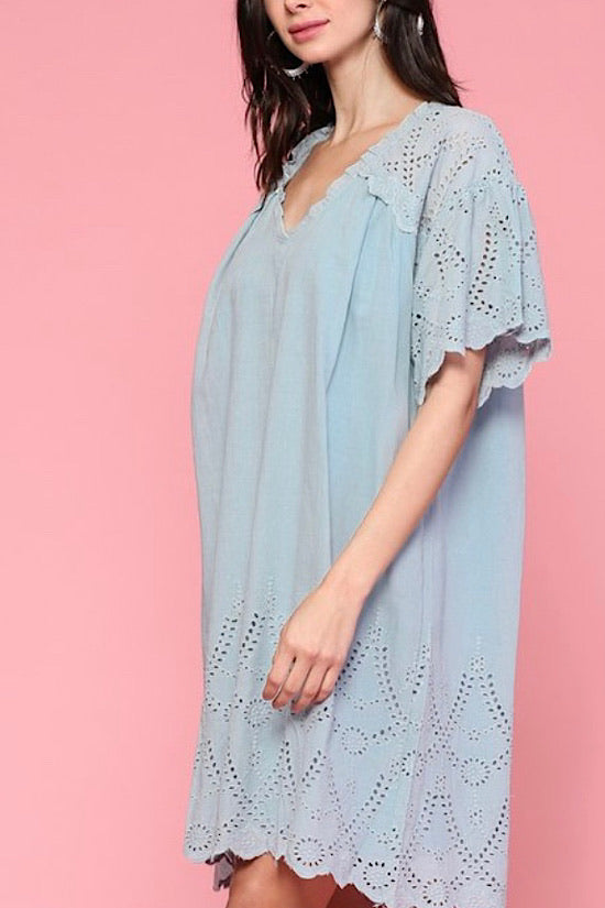 Slate Blue Short Sleeve Eyelet Dress