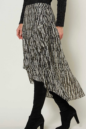 Current Air Asymmetrical Black and Gold Foil Skirt