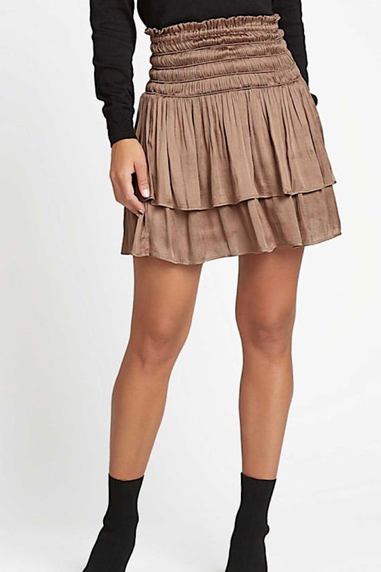 Tobacco Layered Short Skirt with Smocked Waist