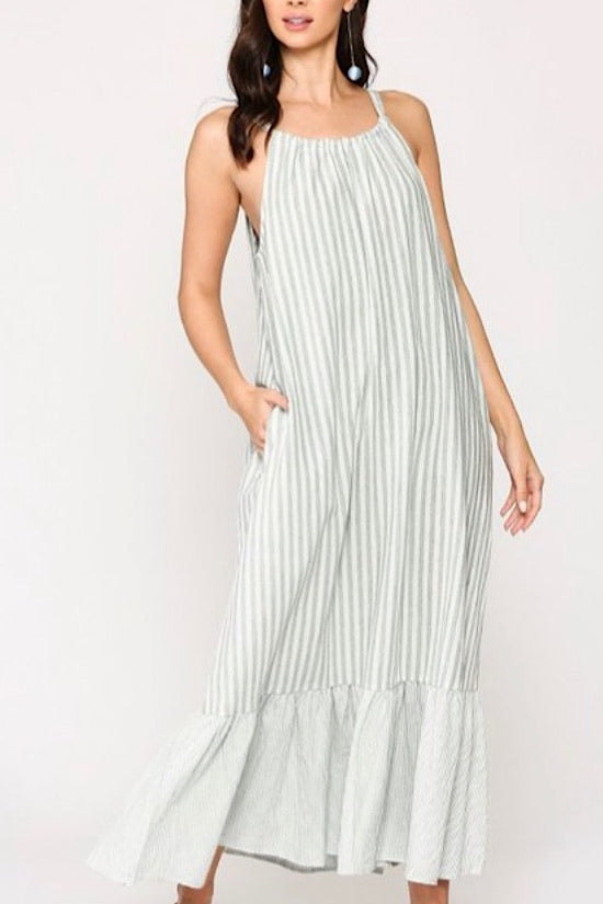 Sage Stripe Halter Neck Maxi Dress with Ruffle Hem