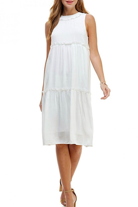 White Sleeveless Midi Dress