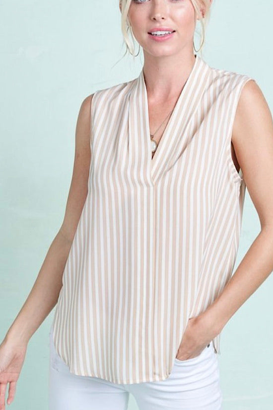 Classic Taupe Sleeveless Top