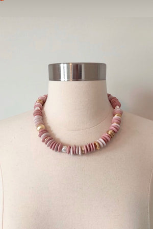 Portofino Pink Necklace with Freshwater Pearls and Brass Elements