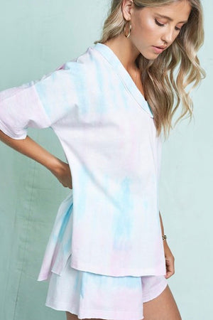 Light Pink and Blue Tie Dye Lounge Set