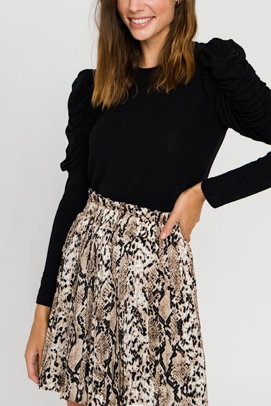 Snake Skin Pleated Skirt