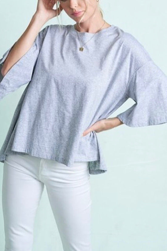 Gray Short Bell Sleeve Top