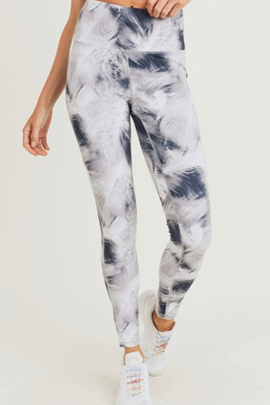 White Feather Print Highwaist Leggings