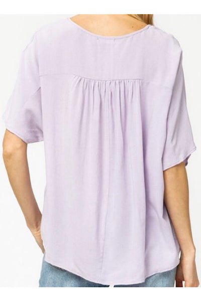 LILAC RAYON/LINEN TOP