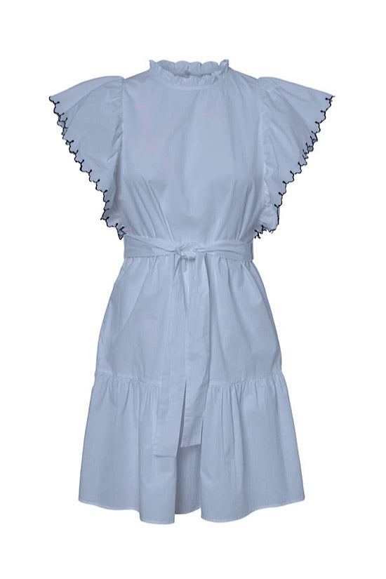 Light Blue with Navy Trim Scalloped Sleeves