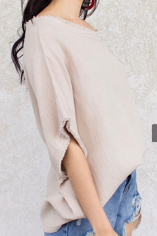 Gauze Top in Sand