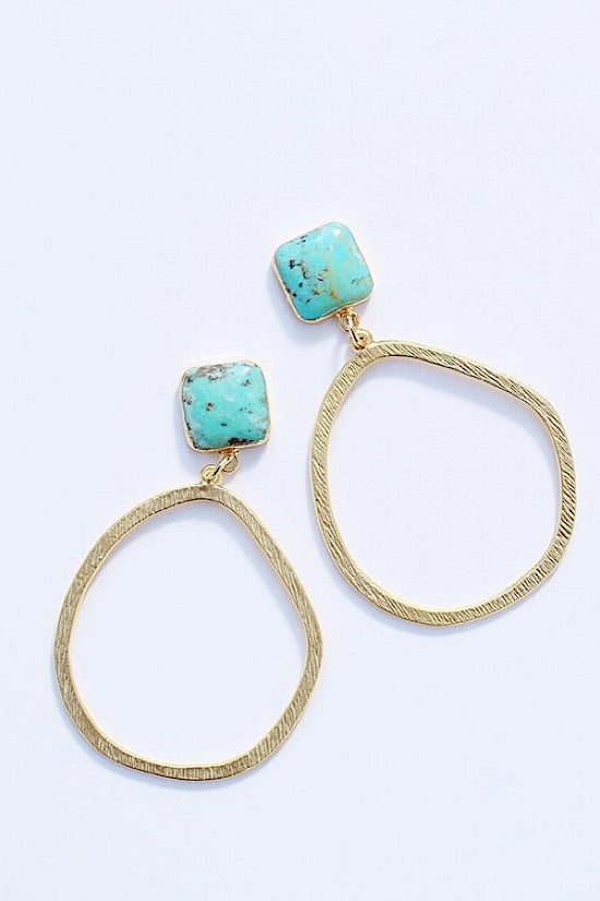 Blue Turquoise + Gold hoop