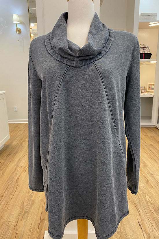 Black Cowl Neck Tunic with Diagonal Seams and Pockets