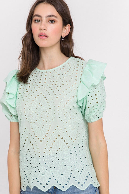 Mint Puff Sleeve Eyelet Top