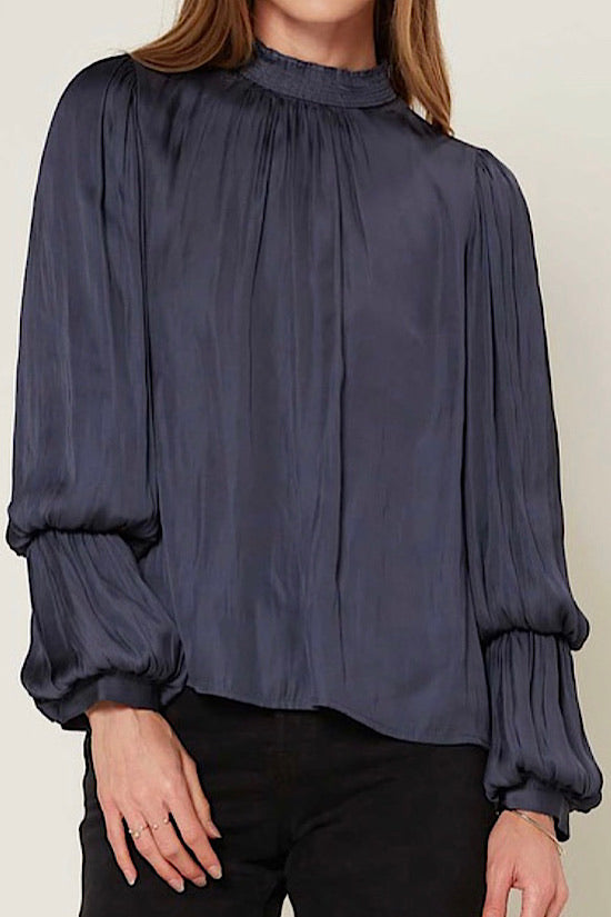 Slate Dark Navy Mock Neck Tiered Puff Sleeve Blouse
