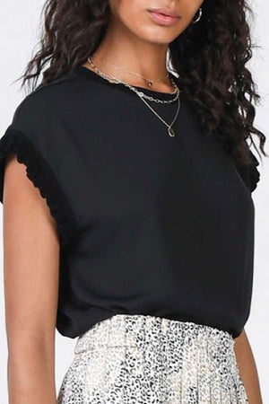 Black Drop Sleeve Top with Ruffle Trim
