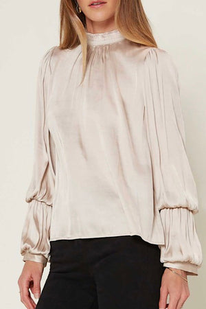 Taupe Mock Neck Top with 2 Tiered Puffed Sleeve Blouse
