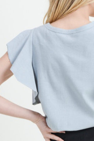 Steel Gray Circle Neck Flutter Sleeve Knit Tee