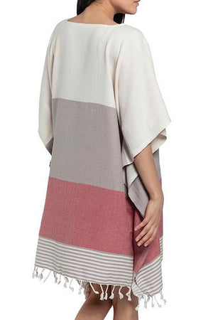 Rose Color Block Turkish Caftan Cover Up