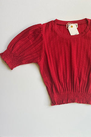 Red Smocked Waist Top