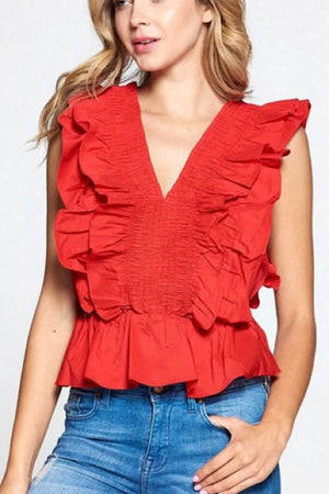 Red Smocked Ruffle Detail Top