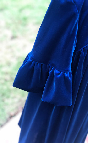 Royal Blue Velveteen Ruffle Sleeve Dress