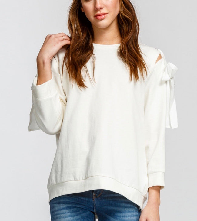 Off White Shoulder Tie Top