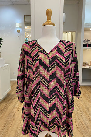 Pink/Black Pattern V Neck Tunic