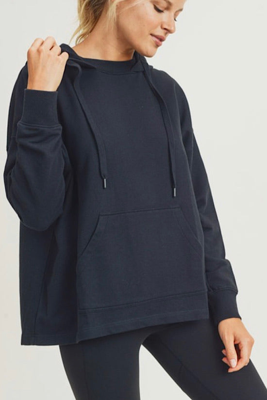 Boxy Cut French Terry Hoodie Pullover