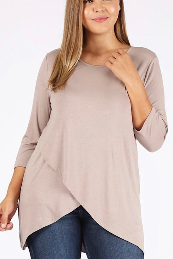 Taupe Knit Asymmetrical Top
